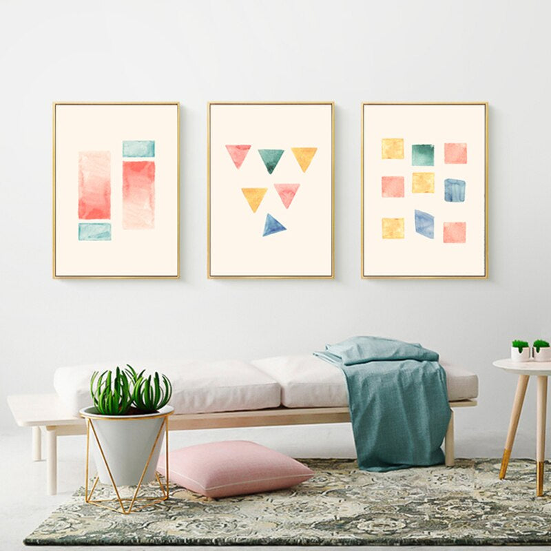 Colorful Abstract Shapes Minimalist Wall Art Fine Art Canvas Prints Bright Cheerful Modern Pictures For Kitchen Living Room Kids Bedroom Decor