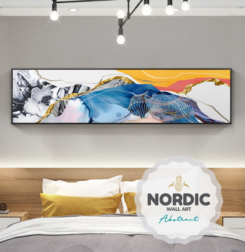 Colorful Abstract Wide Format Wall Art Fine Art Canvas Prints Contemporary Design Panoramic Paintings For Above Bed Above Sofa Home Office Decor