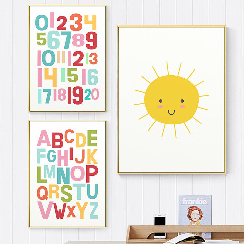 Colorful Cute Rainbow Alphabet Nursery ABC Posters Fine Art Canvas Prints Nordic Style Wall Art Pictures For Baby's Room Kids Room Wall Decor.