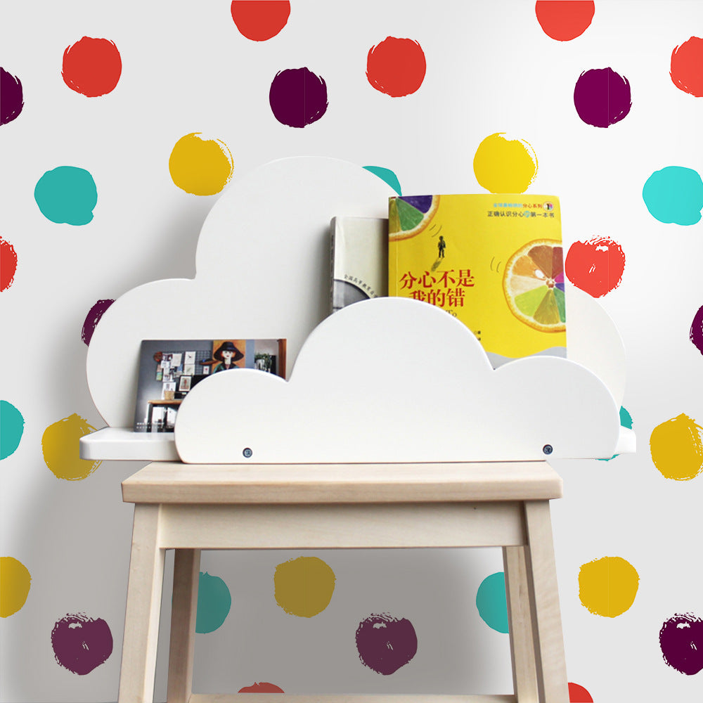 Colorful Dots For Kids Room Vinyl Wall Mural Self Adhesive PVC Wallpaper Peel & Stick Covering For Furniture Cabinets Surfaces Creative DIY Nursery Decor