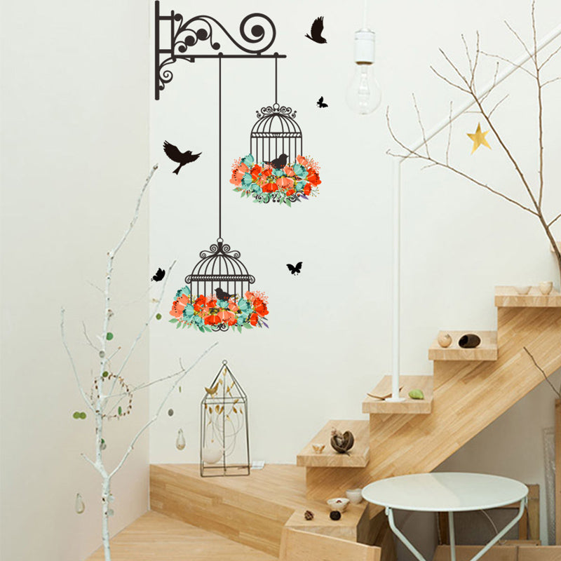 Colorful Floral Birdcage With Flying Birds Wall Decal Removable PVC Wall Mural For Kitchen Living Room Dining Room Creative Simple DIY Wall Art Home Decor