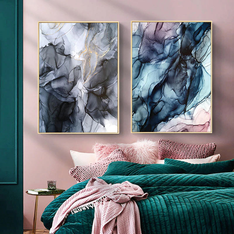 Colorful Ink Splash Abstract Wall Art Pink Gray Blue Subtle Hues Fine Art Prints Modern Nordic Posters For Living Room Bedroom Contemporary Home Decor
