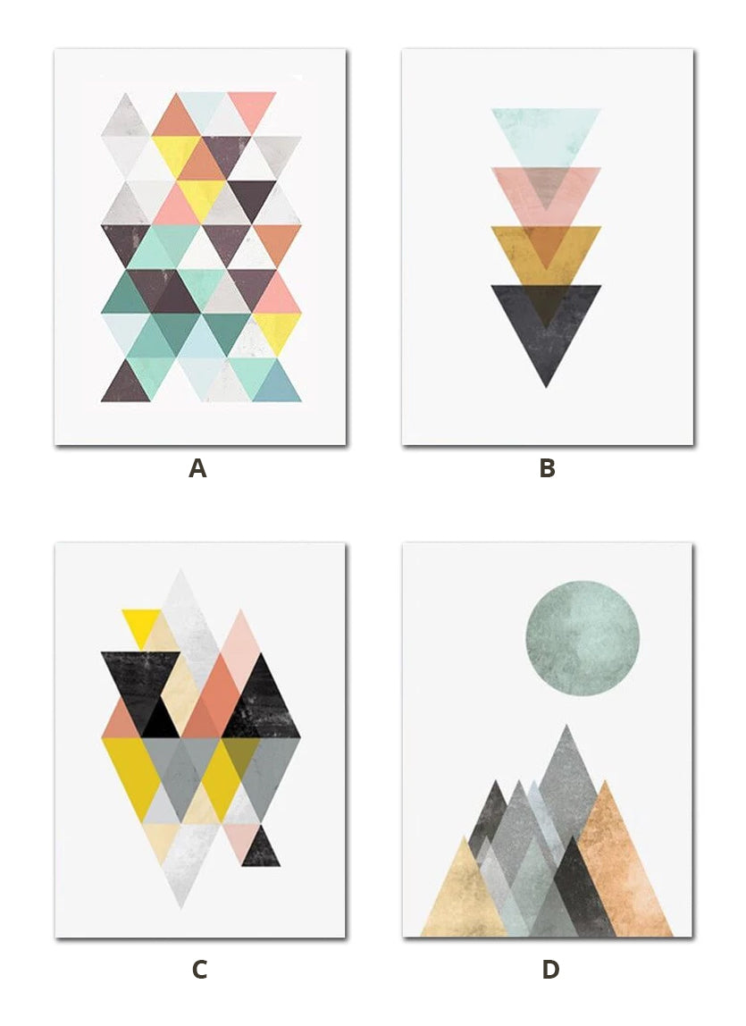 Colorful Nordic Abstract Wall Art Geometric Designs Subdued Colors Fine Art Canvas Prints Pictures For Modern Scandinavian Style Home Interior Decor