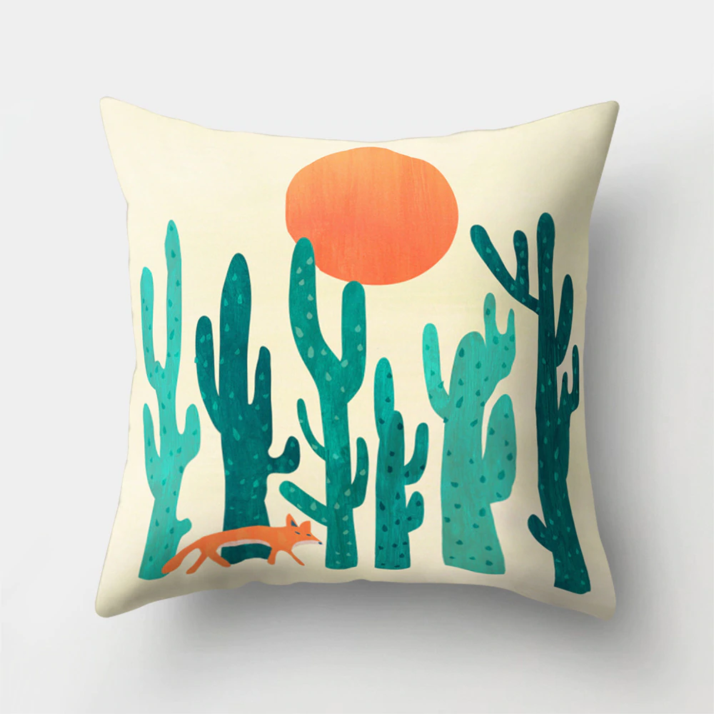Colorful Nordic Style Sunrise Moon & Mountain Floral Landscape Geometric Abstract Patterned Retro Geometric Cushion Cover Sofa Pillow Case