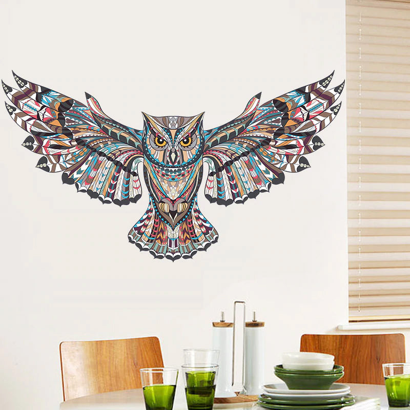 Colorful Owl Wall Decal For Kids Room Decor Removable PVC Vinyl Self Adhesive Wall Sticker For Modern Nursery Room Decoration