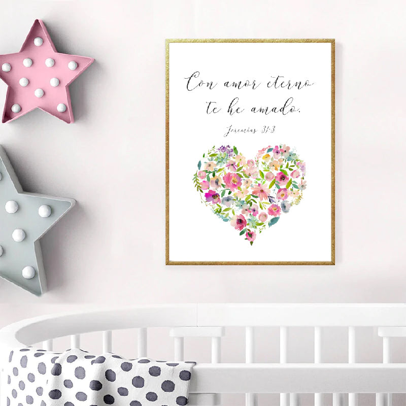 Como Amor Eterno Spanish Love Quote Wall Art Simple Minimalist Floral Watercolor Flower Heart Fine Art Canvas Print Love Quotation Picture For Bedroom