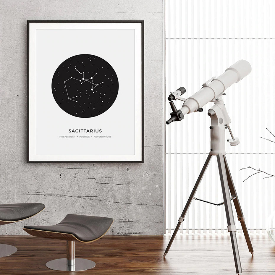 Constellations Wall Art Abstract Black White Astrology Posters For Each Star Sign With 3 Traits Fine Art Canvas Prints For Office Bedroom Home Decor