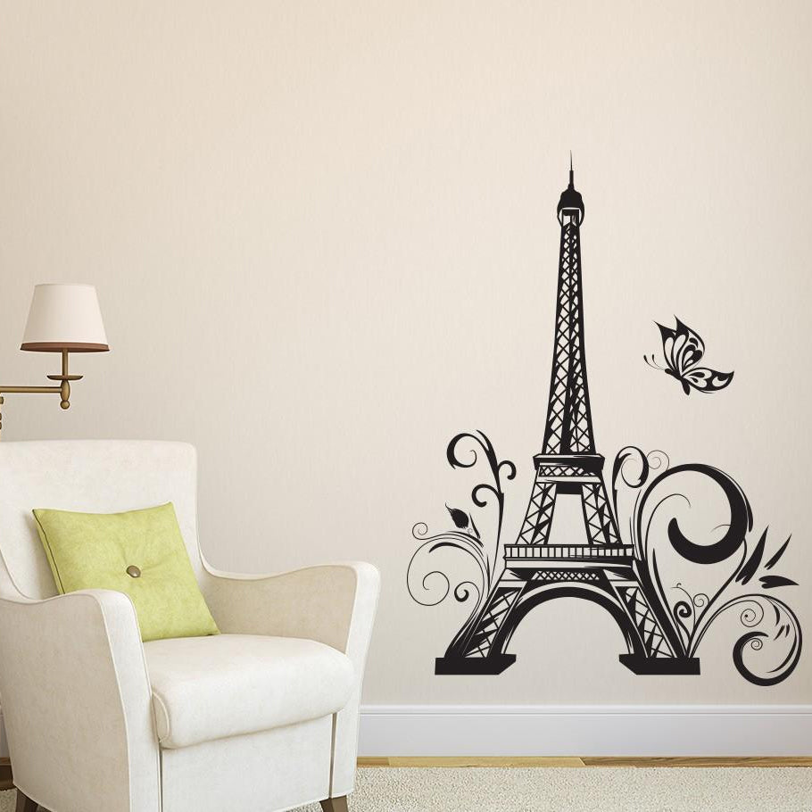 Contemporary wall art eiffel tower paris vinyl decals wall stickers for elegant home decoration living room