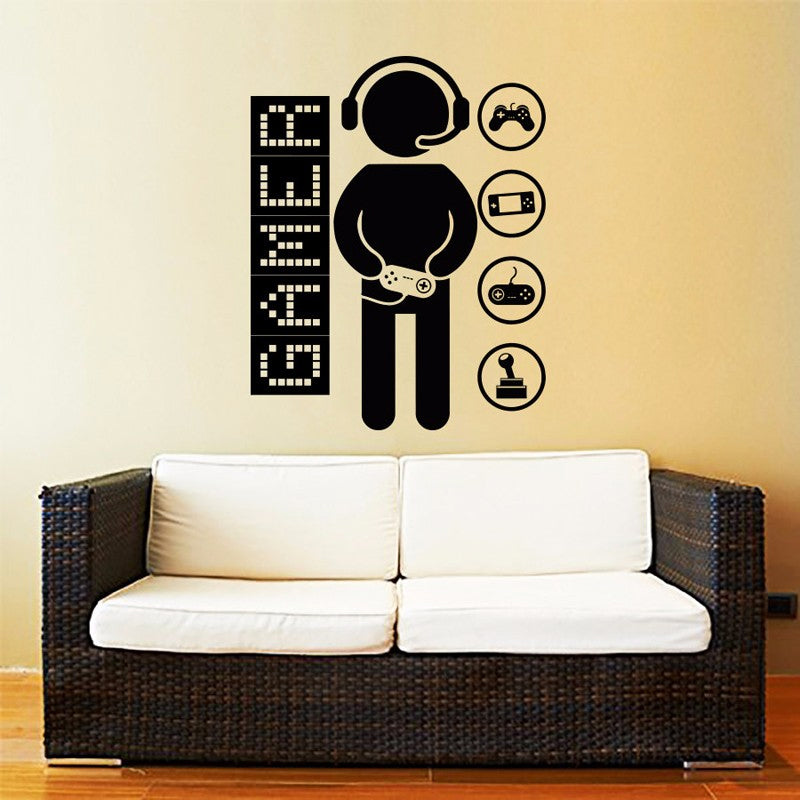 Cool Gamer Motif Mural for Kids Room Wall Art Removable Vinyl Decal Art Sticker for Boys Bedroom Home Decor 4 Sizes