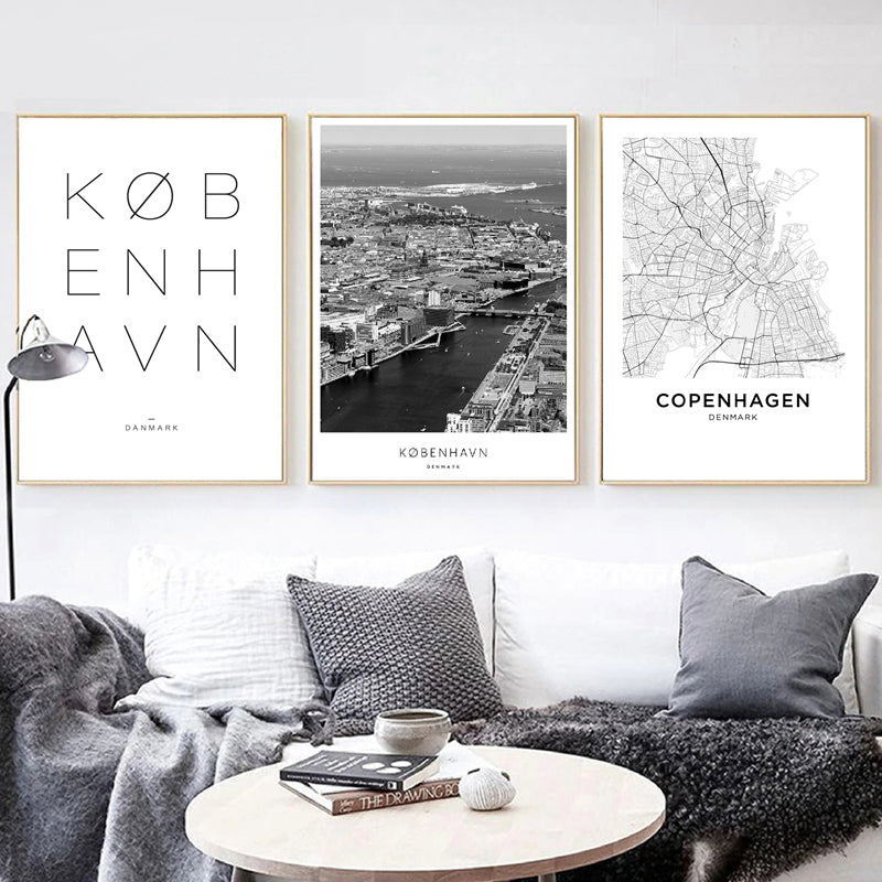 Copenhagen City Gallery Wall Art Fine Art Canvas Prints Nordic Minimalist Black White Cityscape Posters For Living Room Scandin Style Home Office Decor