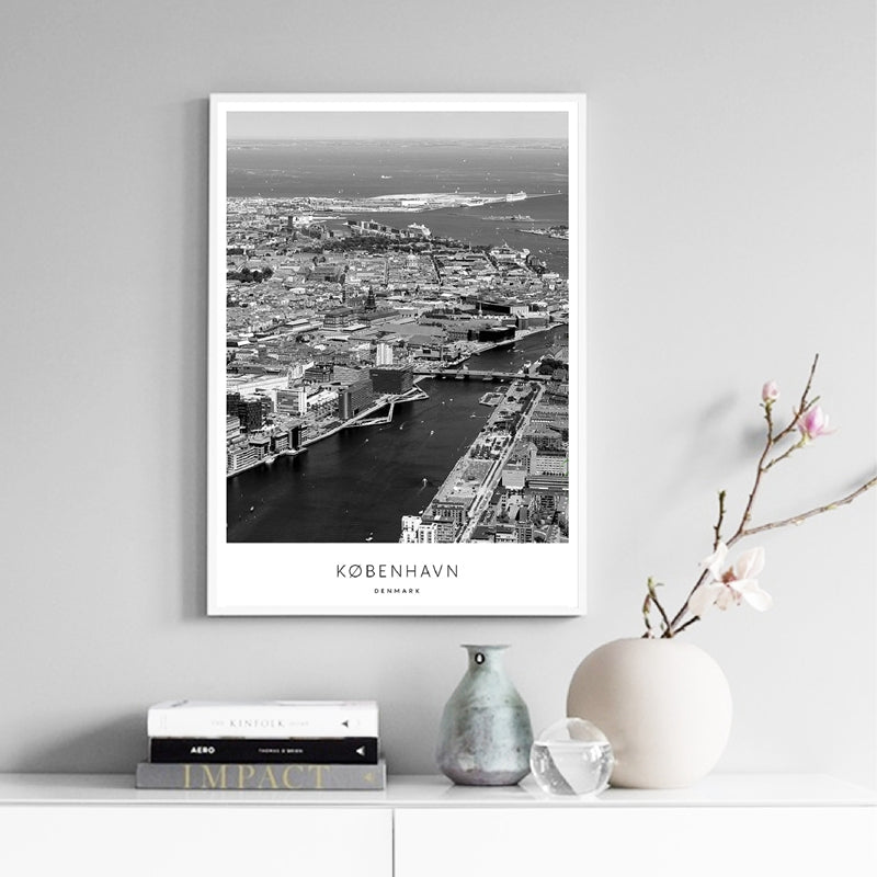 Copenhagen City Gallery Wall Art Fine Art Canvas Prints Nordic Minimalist Black White Cityscape Posters For Living Room Scandi-Style Home Office Decor