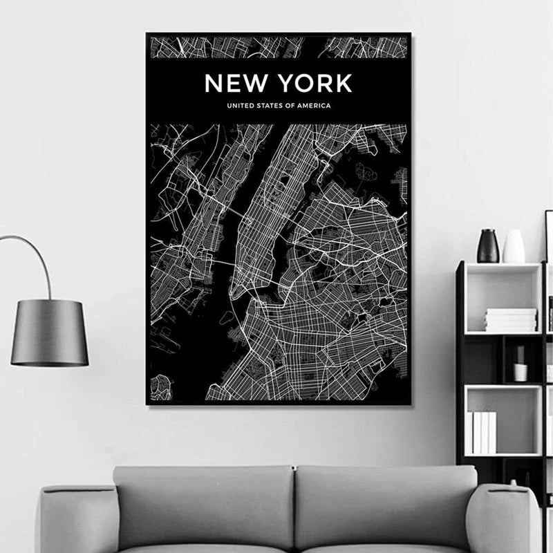 Customized City Map Poster For Your Town Or City. These Simple Modern Minimalist Black & White Canvas Print Wall Maps Are Ideal For Home Office Decor