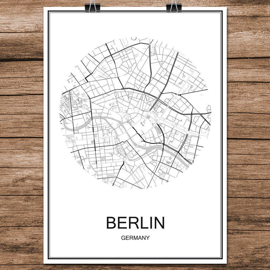 Customized City Map Wall Art Minimalist High Quality Black & White Fine Art Canvas Prints Custom Printed For Your Town Or City Perfect For Home Office Size 42x30cm