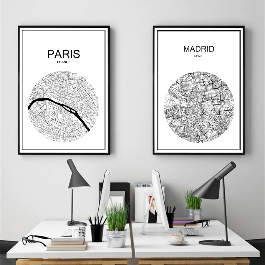 Customized City Map Wall Art Minimalist High Quality Black & White Fine Art Canvas Prints Custom Printed For Your Town Or City Perfect For Home Office Size 42x30cm.
