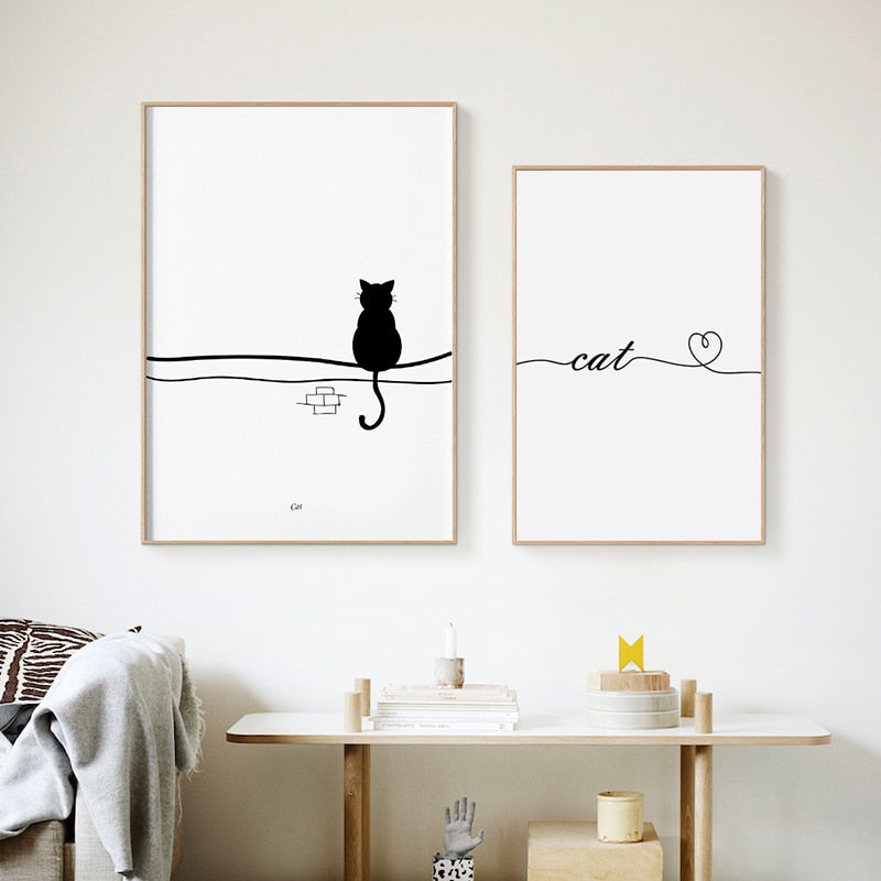Cute Abstract White Black Cat Art Feline Silhouette Birds In Row Minimalist Modern Nordic Wall Art Fine Art Canvas Prints For Cat Lovers Home Decor
