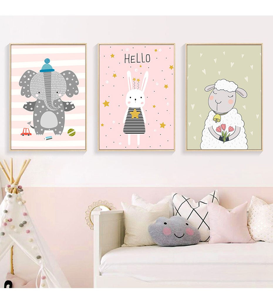 Cute Animals Nursery Art Nordic Style Sweet Cartoon Characters Fine Art Canvas Prints Pictures For Children's Bedroom Kids Room Home Decor