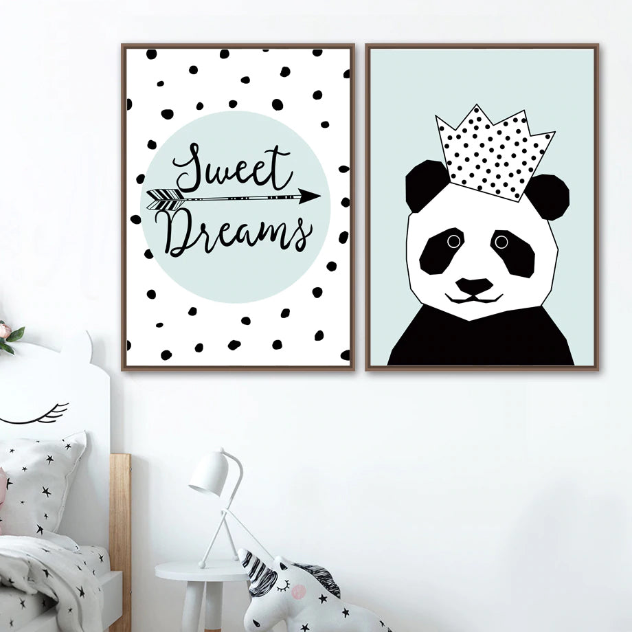 Cute Animals Nursery Wall Art Little Star Posters Fine Art Canvas Prints Nordic Pictures For Children's Room Kids Bedroom Wall Decor