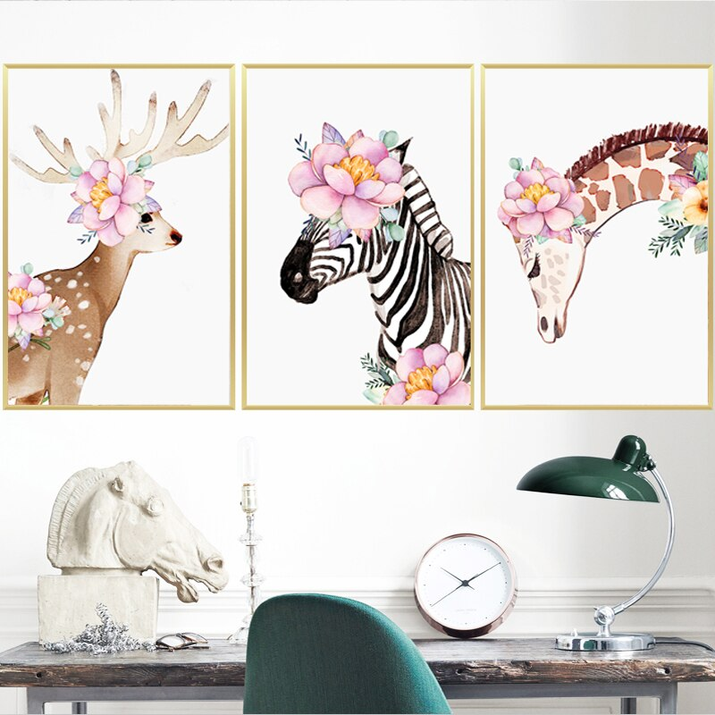 Cute Animals With Flowers In Their Fur Nordic Nursery Art Animals Series Canvas Prints Paintings For Kids Room Nursery Room Modern Decoration