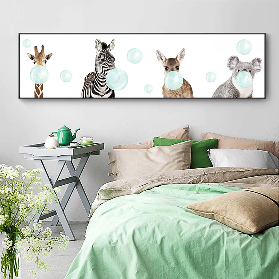 Cute Baby Bubble Animals Wide Format Nursery Wall Art Fine Art Canvas Print For Baby's Bedroom Nordic Style Poster For Kindergarten Wall Decor