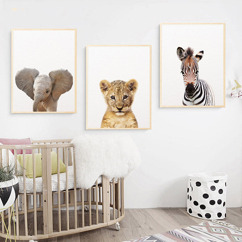 Cute Baby Safari Animals Nursery Wall Art Fine Art Canvas Prints Giraffe Zebra Tiger Posters Nordic Pictures For Baby's Room Wall Decor