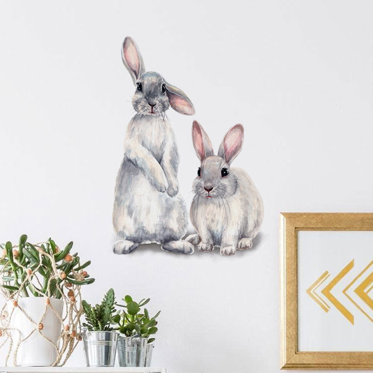 Cute Bunny Rabbits Wall Decals Removable PVC Wall Stickers For Kids Room Nursery Room DIY Wall Decorations For Children's Room Kindergarten Wall Decor
