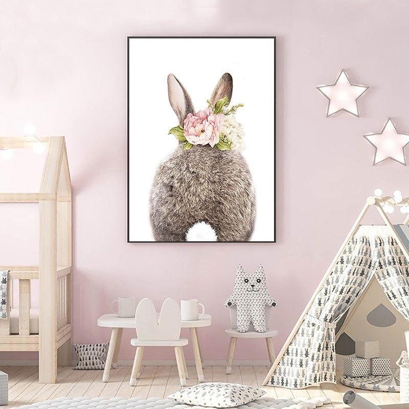 Cute Bunny Tail Pink Floral Rabbit Wall Art Fine Art Canvas Prints Baby Animal Poster For Kid's Room Baby's Room Nordic Nursery Wall Art Decoration