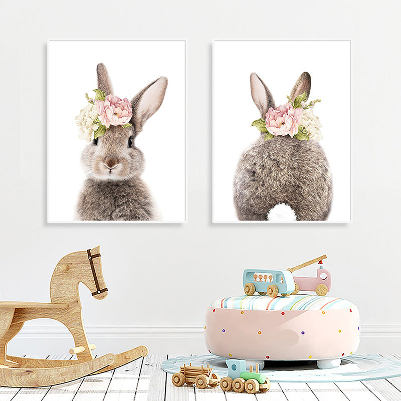 Cute Bunny Tail Pink Floral Rabbit Wall Art Fine Art Canvas Prints Baby Animal Poster For Kid's Room Baby's Room Nordic Nursery Children's Room Art Decoration