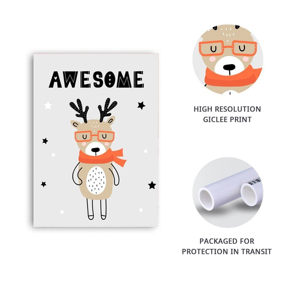 Cute Cartoon Animals For Kids Room Wall Art Nordic Style Fine Art Canvas Prints Colorful Llama Fox & Rabbit Nursery Art For Modern Home Decor