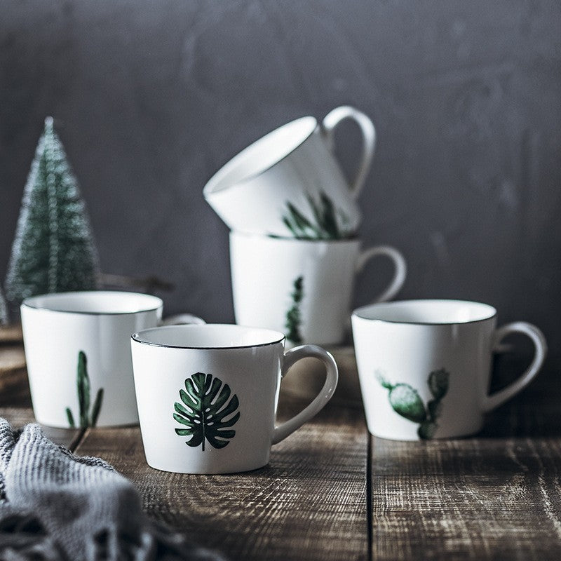 Cute Ceramic Nordic Style Coffee Mugs White With Green Leaves Cactus Monstera Print Scandinavian Style Tea Cups Nordic Home Decor