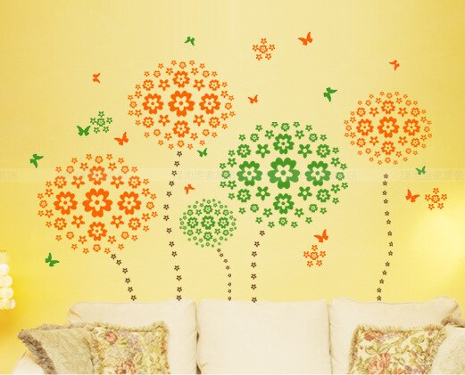 Cute Colorful Flowers And Butterflies Wall Decals Removable DIY Wall Stickers For Bedroom Living Room Wedding Decor Kids Girls Rooms
