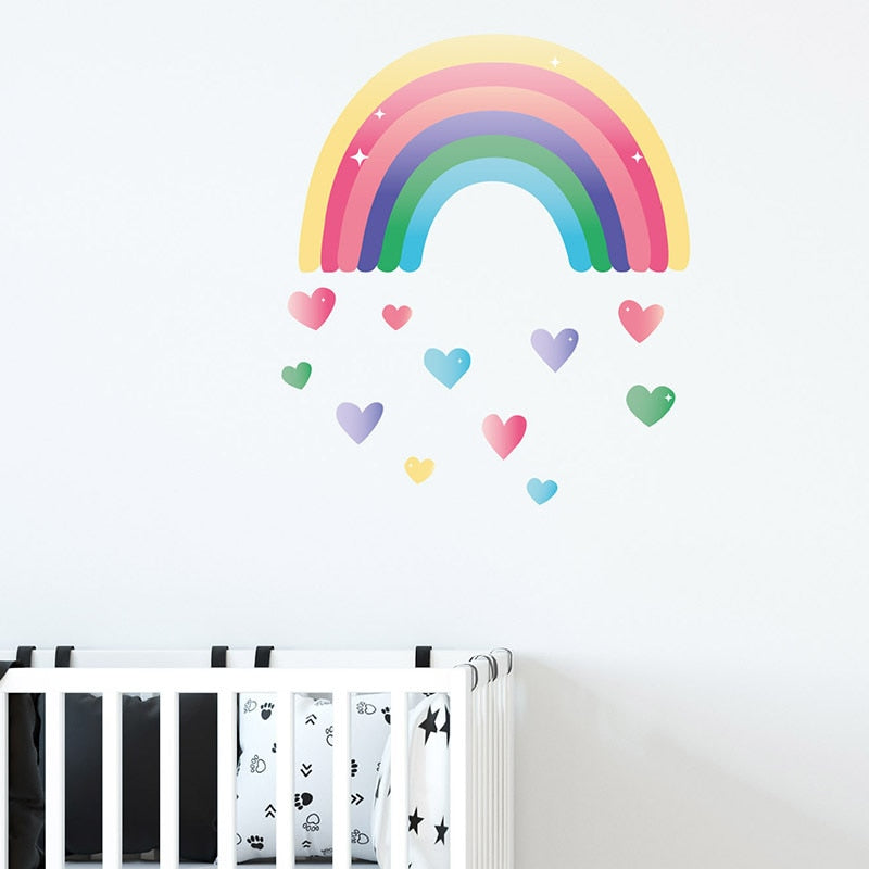 Cute Colorful Rainbow Hearts Wall Decal For Kids Room Removable PVC Vinyl Wall Mural For Children's Room Simple Creative DIY Nordic Nursery Wall Art Decor