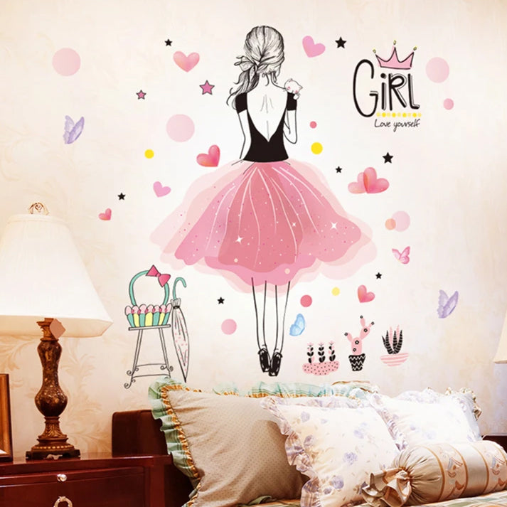 Cute Fairy Girl Butterflies And Balloons Wall Mural PVC Decals Nordic Style Creative DIY Removable Wall Sticks For Girls Bedroom Pretty Nursery Room Decor
