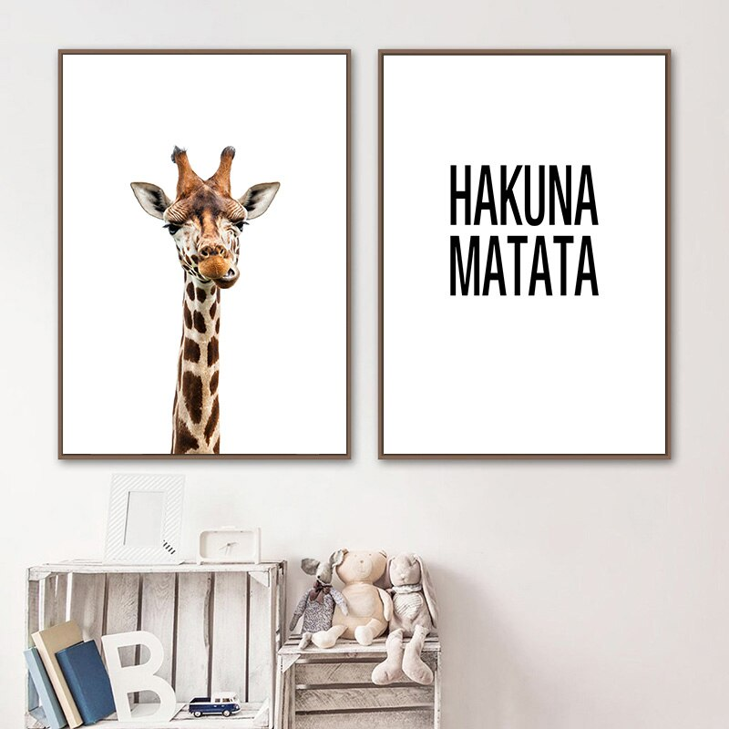 Cute Giraffe Hakuna Matata Quotation Wall Art Fine Art Canvas Print Baby African Animal Picture For Nursery Inspirational Quote Poster For Kids Room Decoration