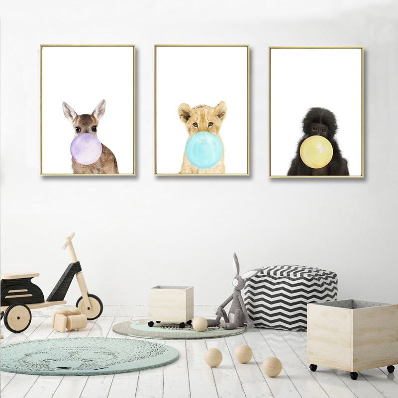 Cute Little Baby Bubble Gum Animals Nursery Decor Wall Art Fine Art Canvas Prints Simple Colorful Pictures For Kids Room Baby's Room Nordic Home Decor