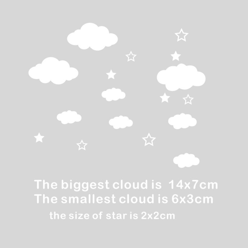 Cute Little Clouds Decorative Wall Decals For Nursery Room Clouds And Stars Removable PVC Wall Stickers For Playroom Kids Room Wall Decor