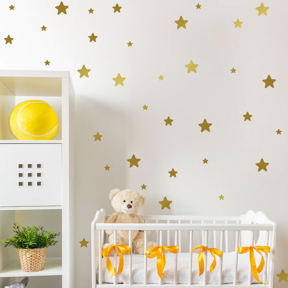 Cute Little Stars Wall Decals For Nursery Room Wall Decor Multiple Colors Varied Sizes Removable PVC Vinyl Wall Stickers For Kids Room Colorful DIY Wall Decor