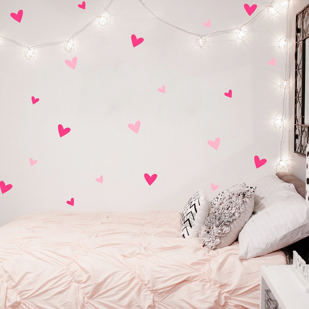 Cute Love Hearts Wall Stickers For Baby's Room Decor Removable PVC Vinyl Wall Decals Colorful Creative DIY Nordic Style Nursery Room Wall Art Decoration