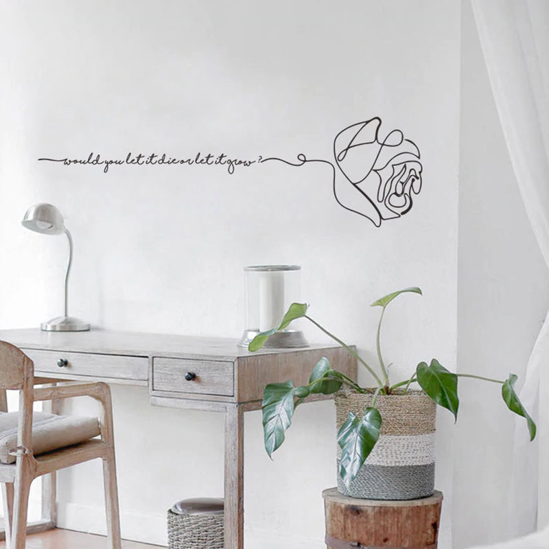 Cute Love Quotation Minimalist English Rose Wall Art Mural Removable PVC Wall Decal Nordic Style Inspirational Art For Bedroom Wall Decor