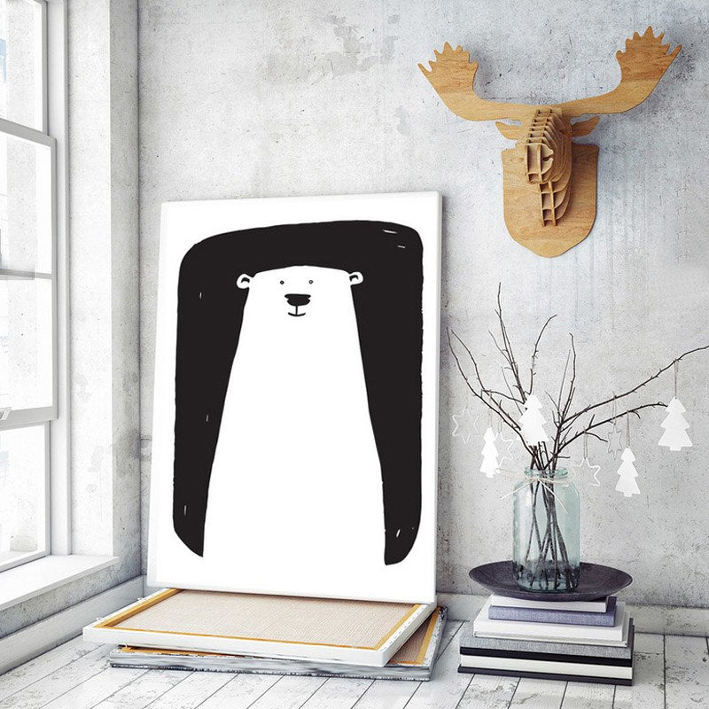 Cute Minimalist Modern Nursery Art Black and White This Is My Favorite Spot Polar Bear Posters Canvas Wall Art For Kids Room Nursery