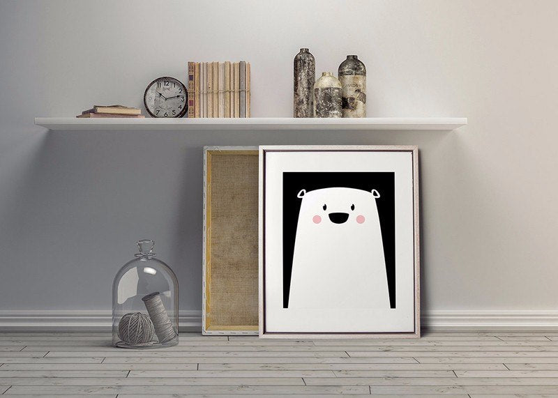 Cute Modern Nordic Wall Art Polar Bear Canvas Prints Nursery Paintings Pop Art Pictures for Kids Bedroom Modern Simple Home Decor