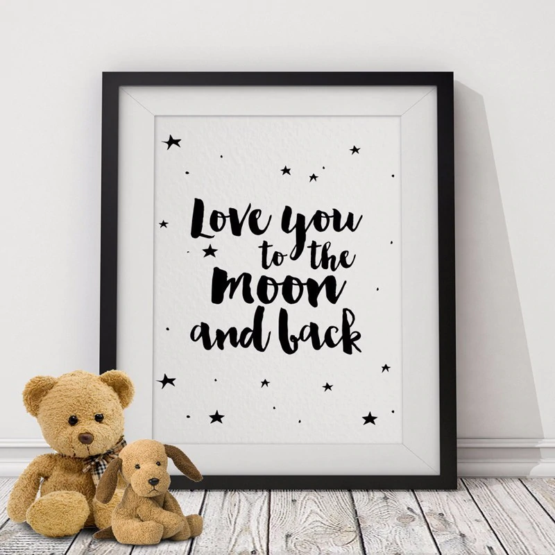 Cute Nordic Minimalist Nursery Wall Art We Love You To The World And Back Quotation Black White Fine Art Canvas Prints Posters For Kids Bedroom Wall Decor