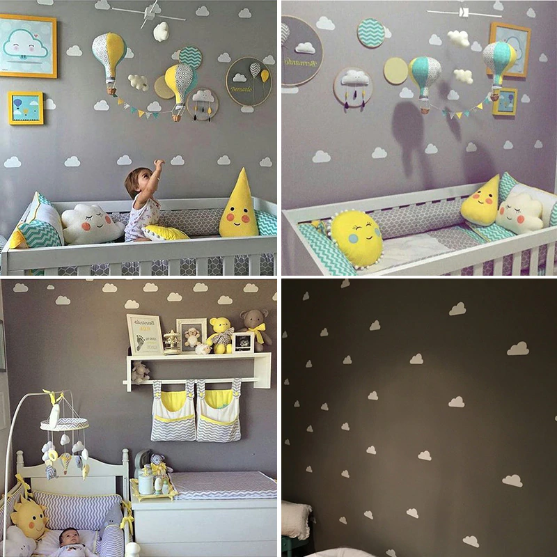 Cute Nordic Style Little Clouds Nursery Wall Decals Removable Colorful Stickers For Kids Room Baby's Room Modern DIY Wall Art Decoration