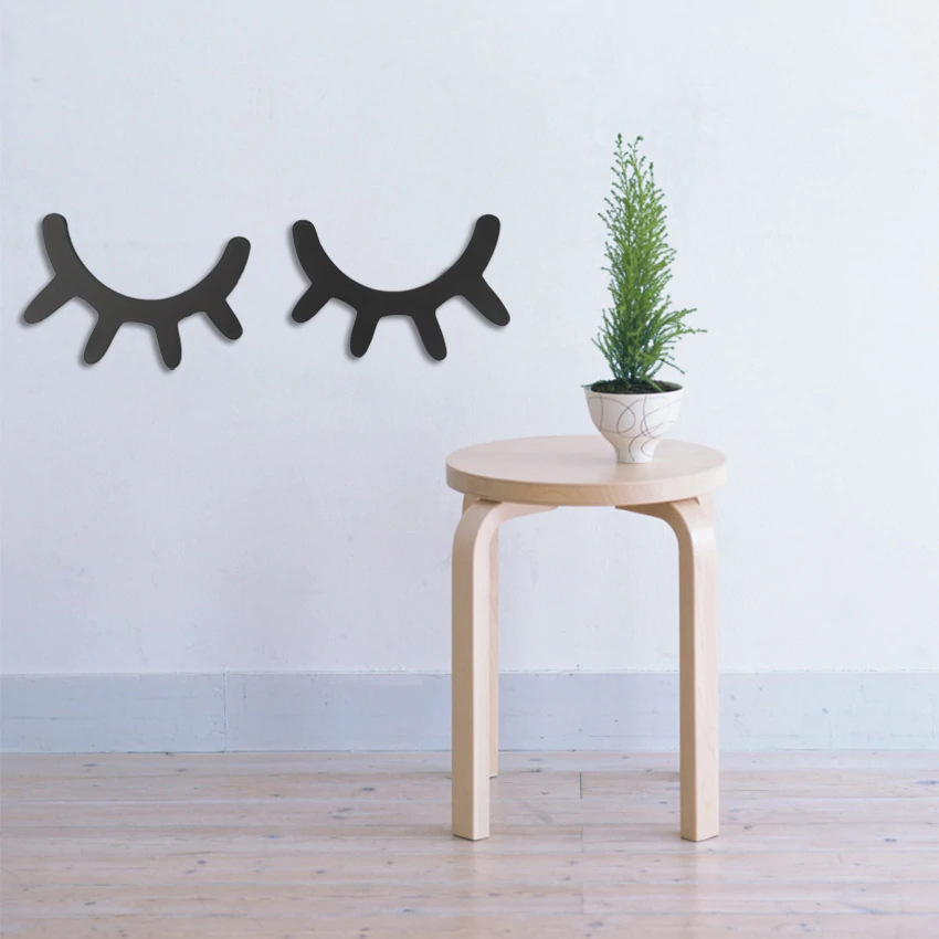 Cute Nordic Style Pair Of Eyelashes Wooden 3D Wall Sticker Cute Decor For Baby Girl's Room Kid's Room Scandinavian Nursery Wall Home Decoration