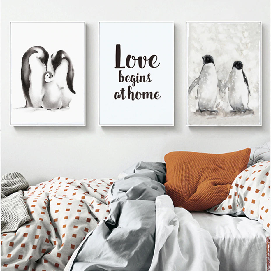 Cute Penguins Family Love Themed Posters Delightful Nordic Canvas Wall Art Prints Paintings For Living Rooms or Bedrooms Modern Home Decor