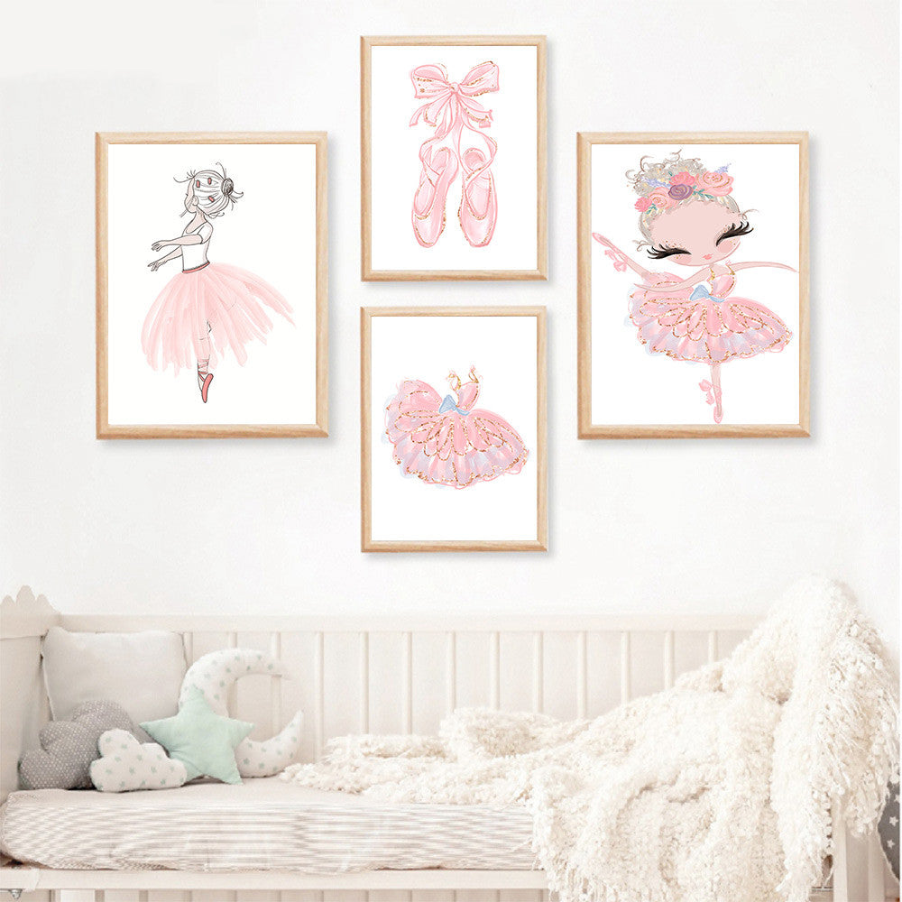 Cute Pink Ballerina Nordic Nursery Wall Art Fine Art Canvas Prints Ballet Shoes Personalized Posters For Girl's Room Kid's Room Wall Art Decoration