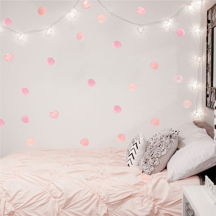 Cute Pink Dots Wall Decals For Girls Room Nursery Decor Peel and Stick Vinyl Wall Stickers Water Color Pink Kids Rooms PVC Wall Art Decals Babys Room Decor 36 pcs Dots