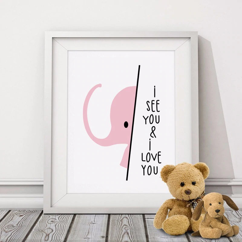 Cute Pink Elephant Nursery Wall Art I Love Quote Minimalist Picture For Children's Room Decor Simple Nordic Style Girls Room Posters