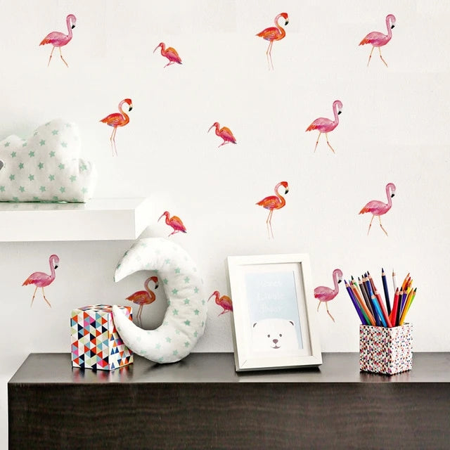Cute Pink Flamingos PVC Wall Decals Removable Wall Stickers Creative Nordic Style Colorful DIY Home Decor For Nursery Kindergarten Classroom Kids Room Decoration