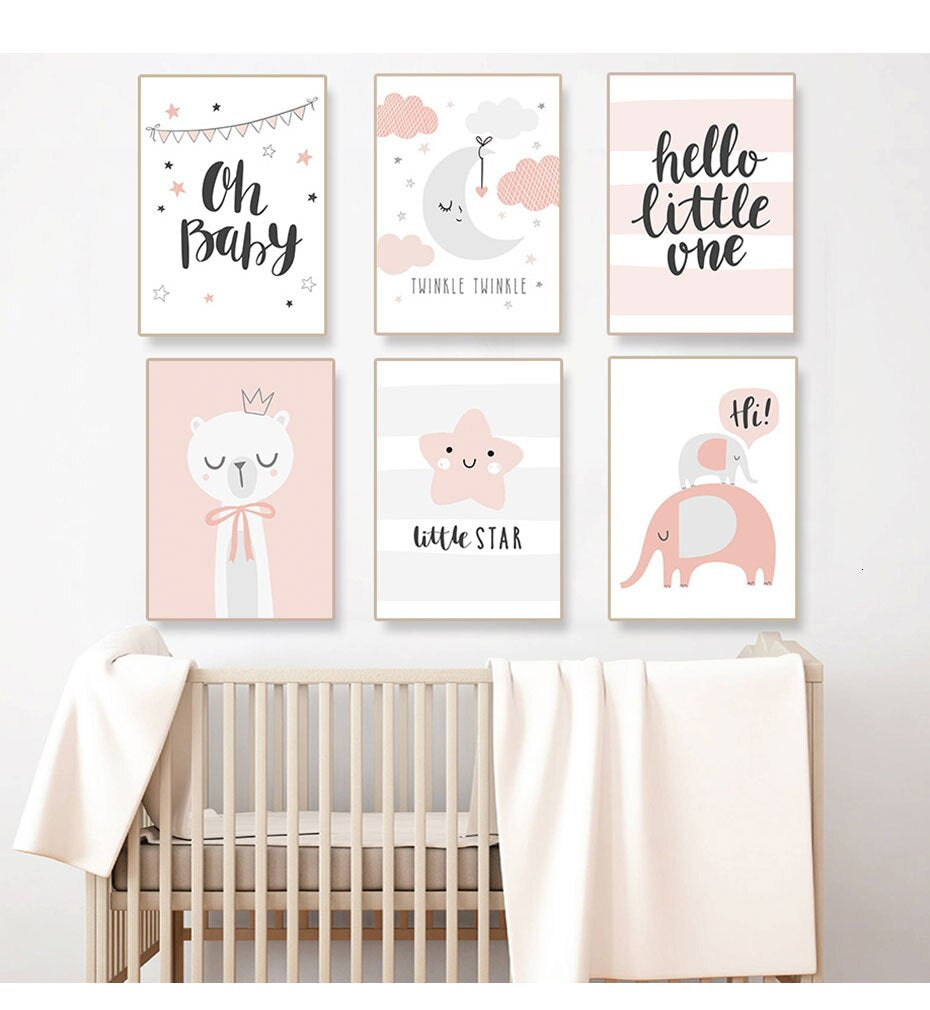 Cute Pink Nordic Nursery Wall Art Twinkle Little Star Girls Room Fine Art Canvas Prints For Children's Room Baby's Room Modern Kids Room Decor
