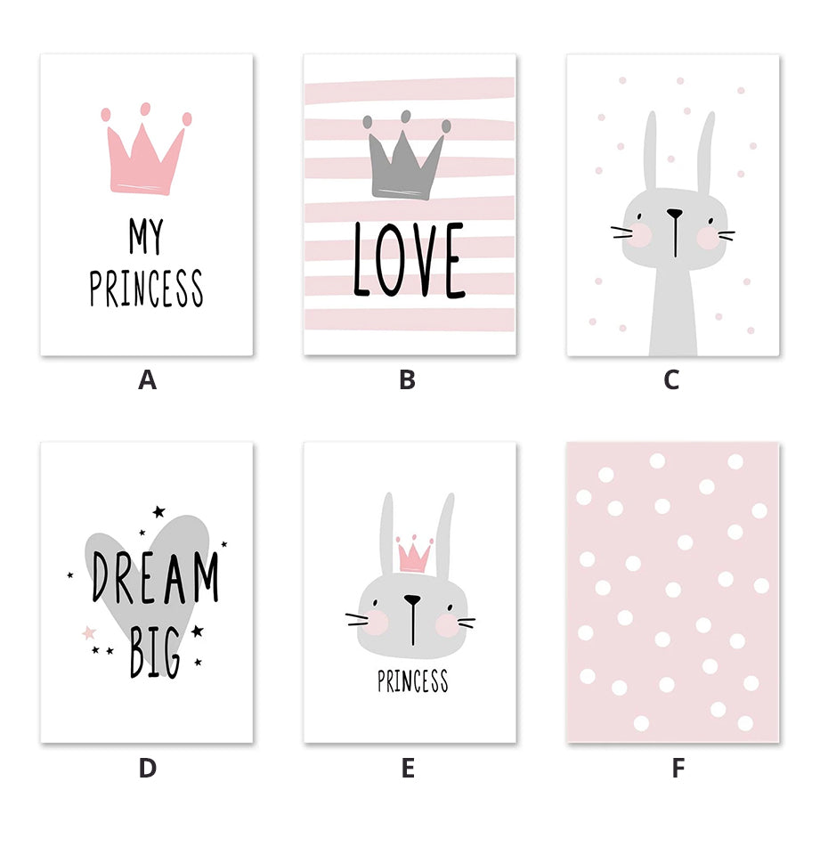 Cute Pink Princess Nursery Wall Art Cute Love Bunny Dream Big Fine Art Canvas Prints Nordic Style Pictures For Girls Room Wall Decoration